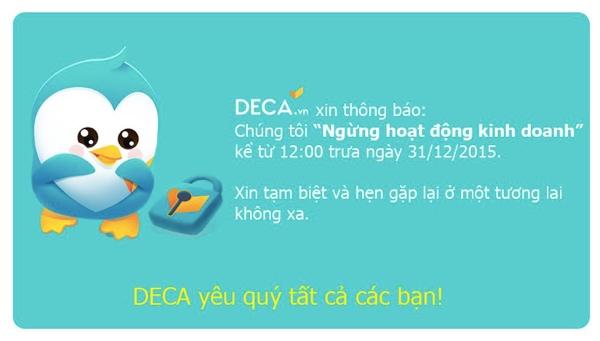 Thông tin 24H đóng cửa trang thương mại điện tử Deca được đưa trên Facebook cá nhân của ông Phan Minh Tâm, đồng sáng lập 24H.