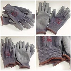 Găng tay polyester màu ghi phủ PU lòng bàn tay