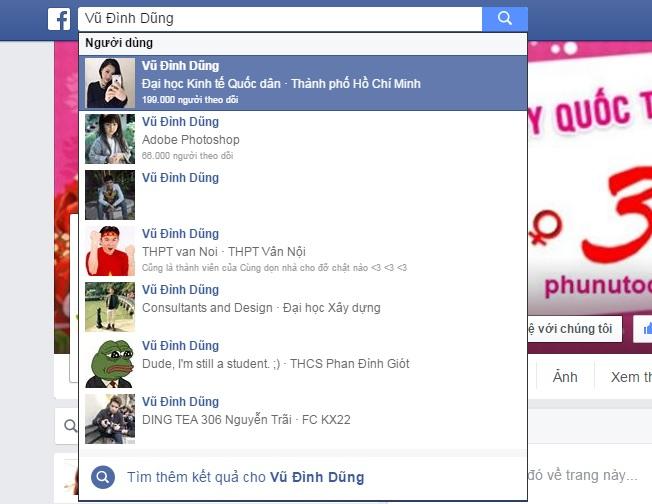 """Một sự việc cực kì lạ đã xảy ra khi hàng loạt tài khoản hot Facebook của người dùng Việt Nam đột nhiên bị đổi tên thành """"Vũ Đình Dũng""""."""