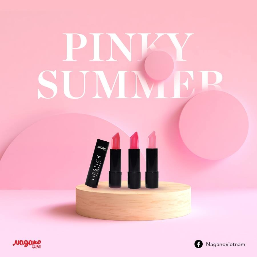 Son Lì Pink Collagen Nagano PK04 2,9g -Gồm 4 màu Sassy Pink, Pink Berry, Pink Marmalade, Dark Magenta